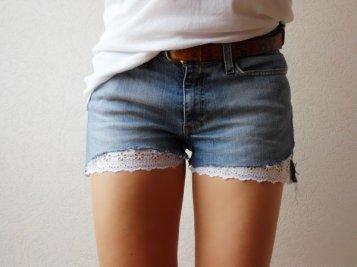 short en jeans dentelle